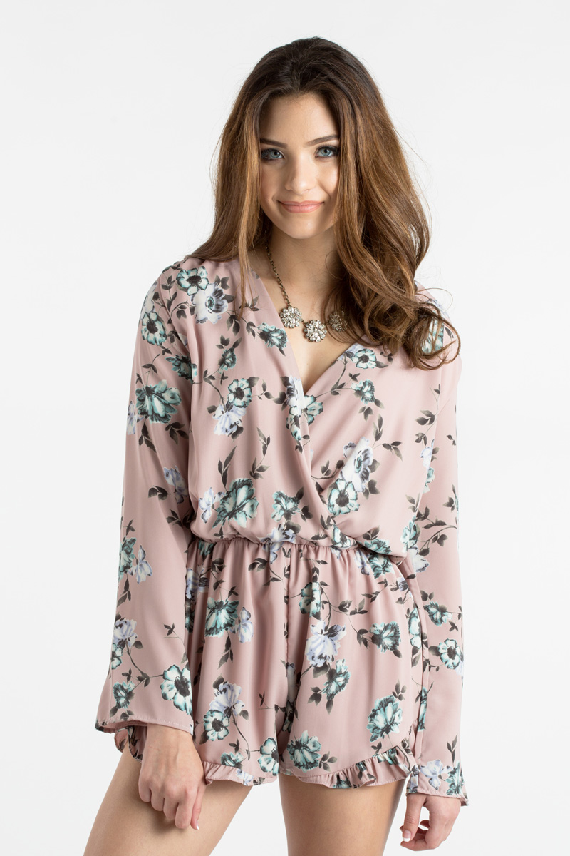 morning lavender cute floral rompers for women - 02