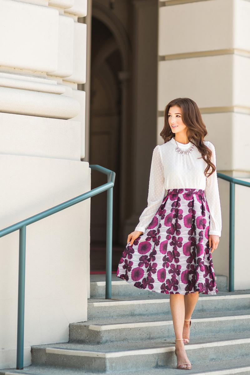 morning lavender cute midi skirts for women - 24
