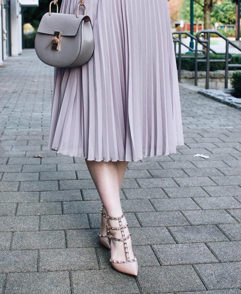 Pretty pleat details from scotchandstilettos in our Camille Pleated Midihellip