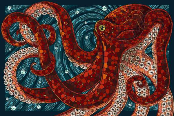 Mosaic Stained Glass Octopus