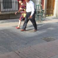 Couple walking in Madrid