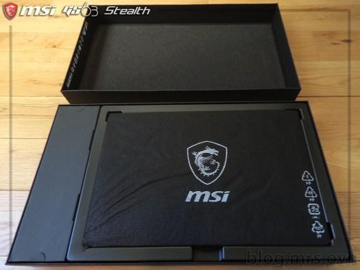 Intérieur de la boîte du MSI GS63 7RD Stealth