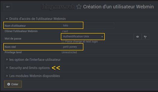 Créer un nouvel utilisateur root Webmin