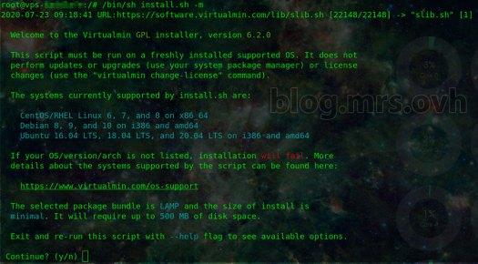 Installation de Virtualmin Console