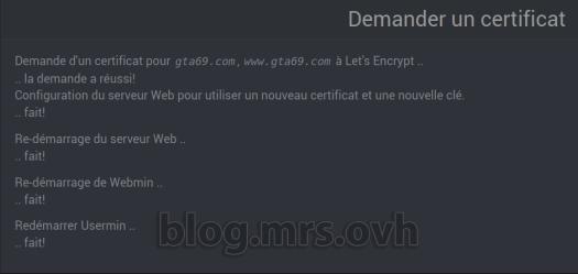 """Webmin - Gérer les Certificats """"Let's Encrypt"""""""