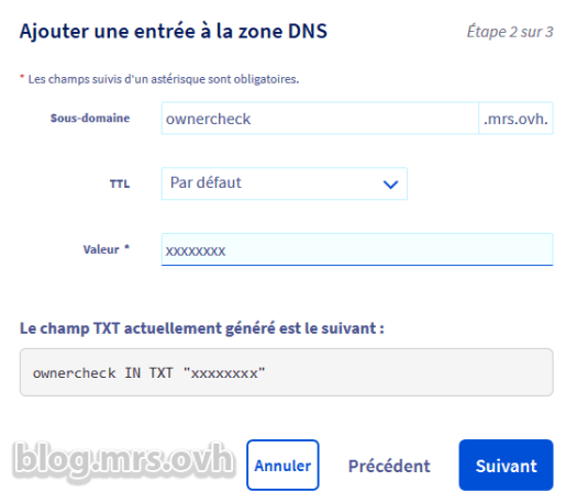 Manager OVH - DNS Secondaire