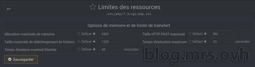 Webmin - Configuration de php.ini