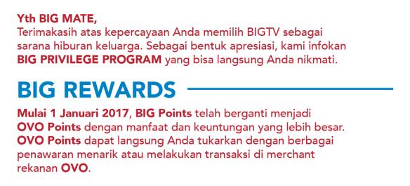 Perubahan BiG TV Points Menjadi OVO Points
