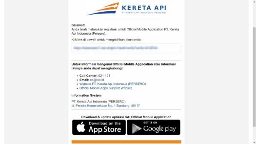 Website PT KAI Registrasi Akun Link Aktivasi