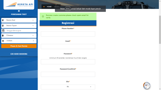 Website PT KAI Registrasi Akun Submission