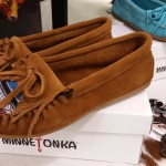 Brown and blue suede Minnetonka mocs
