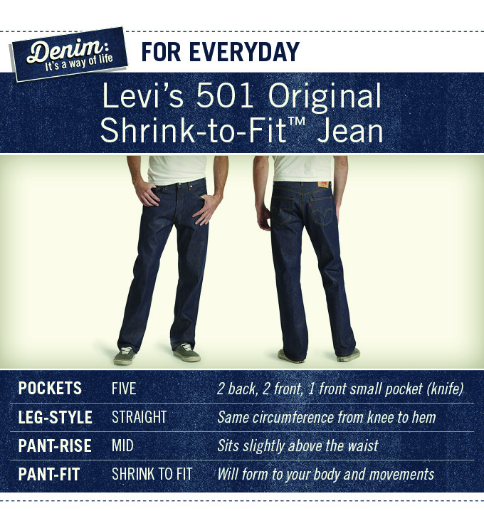 Levis 501 Shrink-To-Fit-Jeans are for everyday wear. 5 pockets. Straight leg style. Mid-rise. Will form to your body and movements over time.