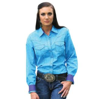 Cruel Women's Blue Button Up With Purple Trim