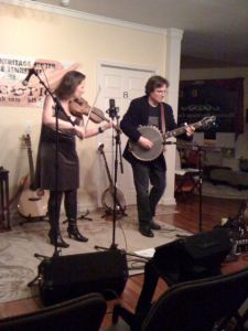 Megan Lynch and Bill Evans, with the cello banjo.