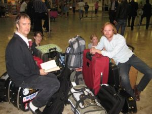 Buddy Woodward, Casey Henry, Rachel Johnson, Todd Livingston and luggage.