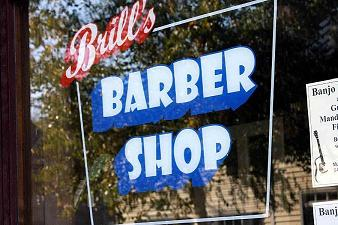 Brill\'s Barber Shop window