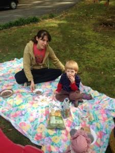 Casey and Dalton picnicking.