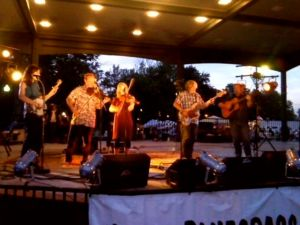 Us on stage with Cowan: Casey Henry, Shad Cobb, Rachel Renee Johnson, John Cowan, and Jeff Autry.