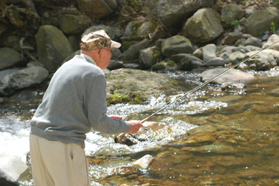 William Downey (102 years old) has enjoyed the trout fishing in the Shenandoah National Park since before WWII.