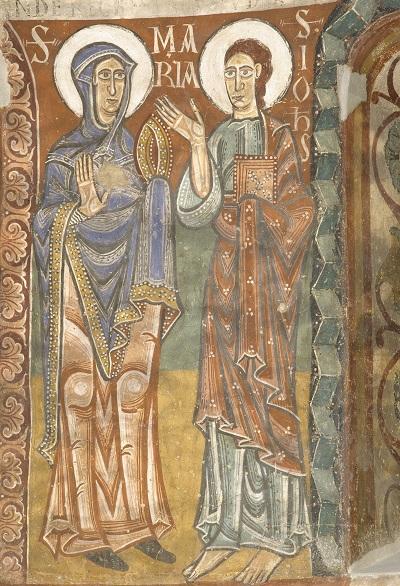 Absis de Sant Pere de la Seu d'Urgell. Detall del mantell de la Mare de Déu