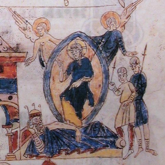 Somni del rei Salomó, Bíblia de Ripoll (foli 95 recto i detall), Biblioteca Apostòlica Vaticana