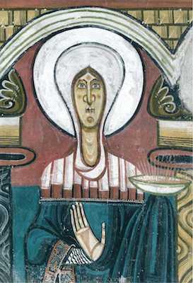 Maria (detall), absis de Sant Climent de Taüll, c. 1123, Museu Nacional d'Art de Catalunya