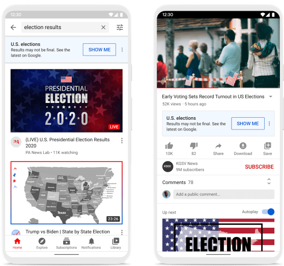 An information panel is shown on top of the search results page and under videos about the election. Source: YouTube Offical Blog