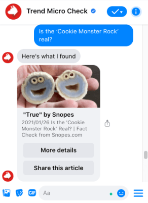 Ask Trend Micro Check questions on Messenger.