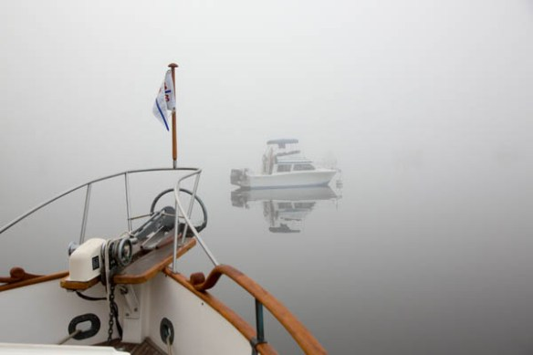 mv Archimedes foggy Montague Harbour morning 1
