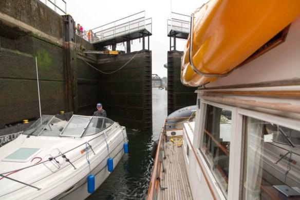 mv Archimedes returning through Chittenden Locks 1