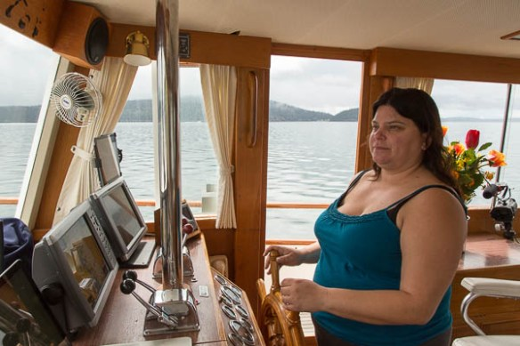 mv Archimedes Cindy at the helm