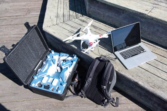 mv Archimedes calibrating the DJI Phantom 2 Vision Plus on shore