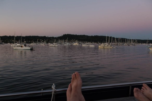 mv Archimedes Liberty Bay evening view
