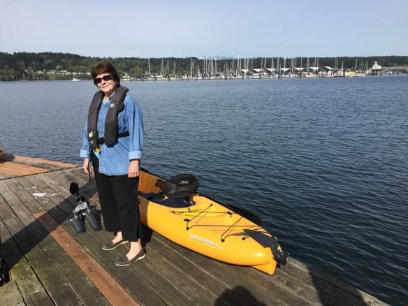 mv Archimedes Kim and her kayak