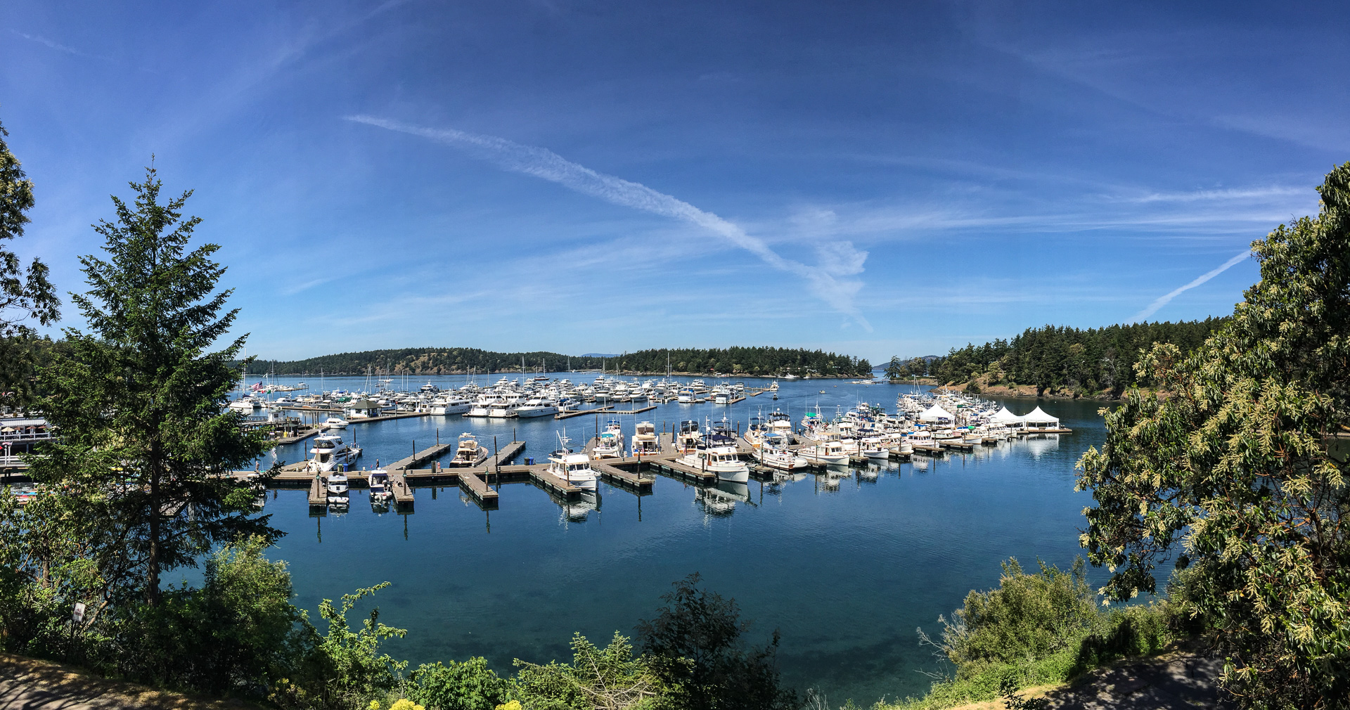 And here is the view of Roche Harbor from the steps of the church. You'll  note it's another fantastic day. Let's hope this weather holds 'til we get  back to ...