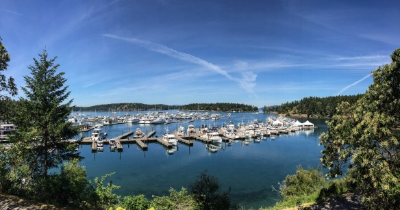 mv Archimedes Grand Banks rendezvous from the Roche Harbor church steps