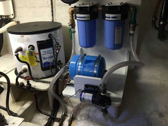 mv Archimedes new water filters installed