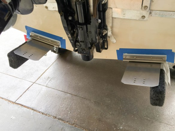 mv Archimedes dinghy trim tab mounted to transom