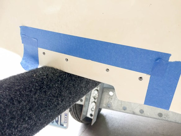 mv Archimedes dinghy trim tab starboard holes drilled