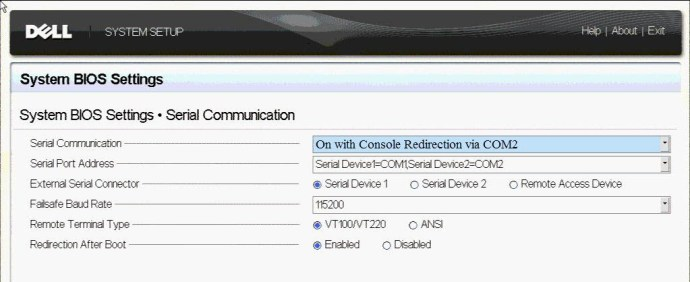 Serial Communication Settings