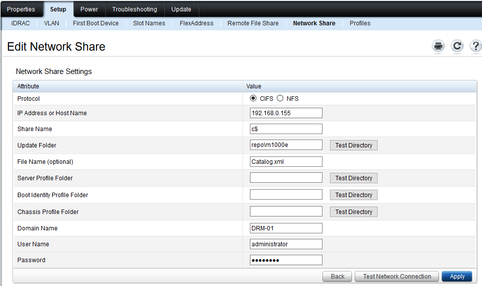 Update m1000e/VRTX firmware with a network share from the Dell