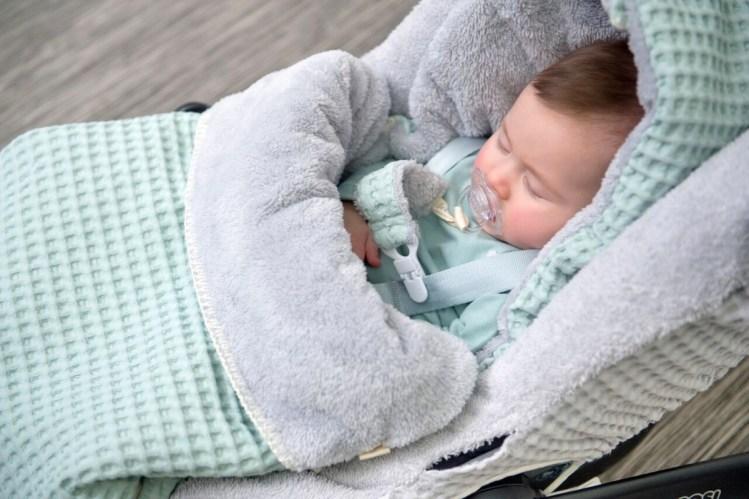 Baby Fußsack von Koeka aus Waffel in Jade