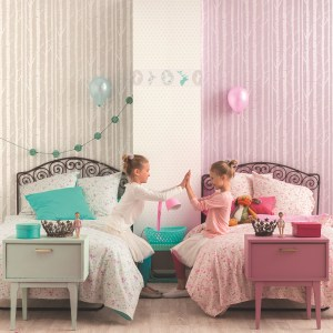Kindezimmer Baum-Tapeten für Mädchen in rosa und perlmutt