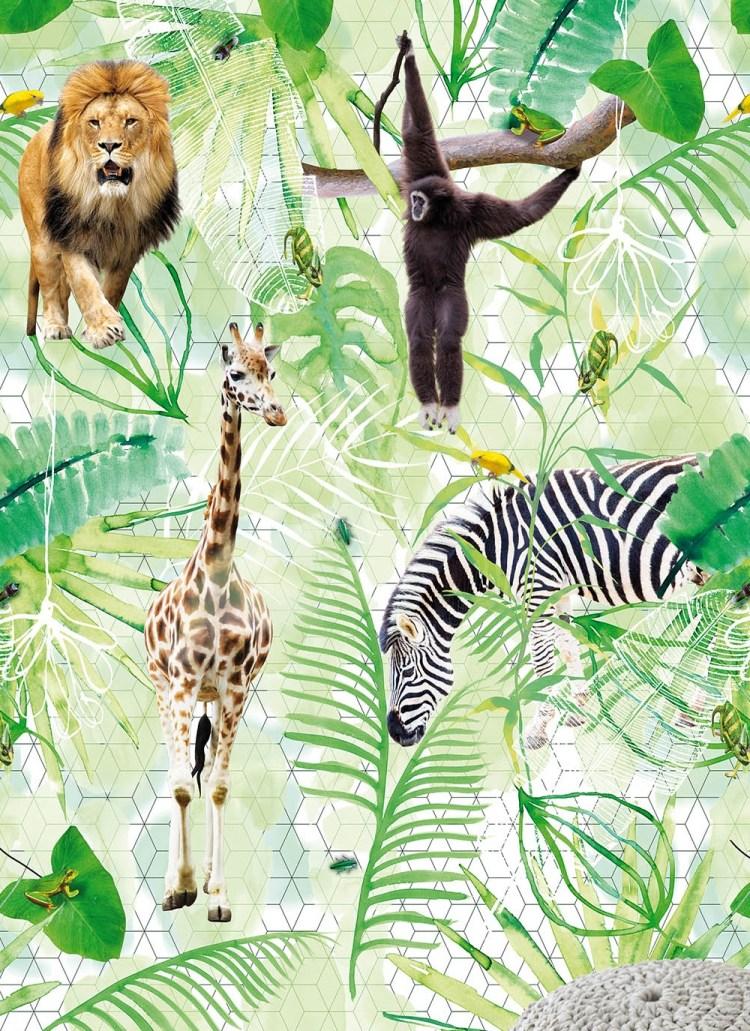 Vlies-Fototapete 'Dschungel' in Grün mit wilden Tieren
