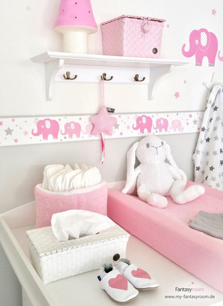 Selbstklebende Babybordüre mit Elefanten in Rosa & Grau - tolle Wandgestaltung für Mädchenzimmer
