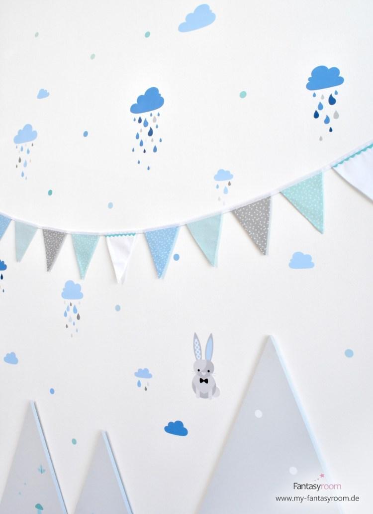 Dinki Balloon Wandsticker 'Waldtiere' und 'Wolken' in Blautönen