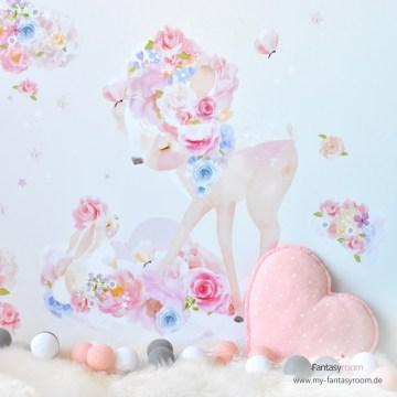 Stoff-Wandtattoos von chmooks 'Blumenrehe & Häschen'