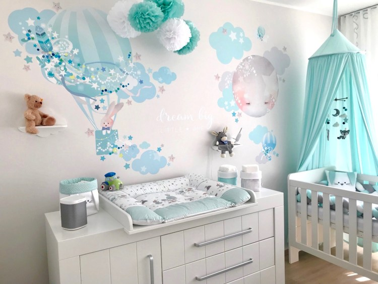 Babyzimmer mit XL Stoff-Wandtattoo Heißluftballon & Mond in Mint & Blau