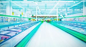 Supermarket freezer section.