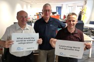 John Badger, Al Barnett and Dave Griffin pictured in Parasense's offices in Gloucester, UK.